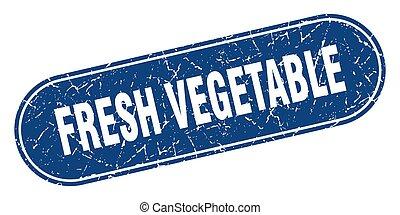 légume, grunge, étiquette, bleu, frais, signe., stamp.