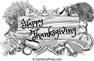 légume, heureux, produire, thanksgiving, signe