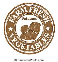 légume, pommes terre, timbre, ou, étiquette