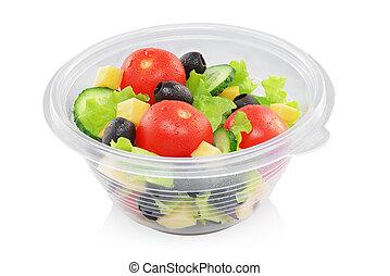 légume, récipient, isolé, salade