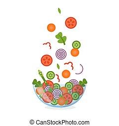 légume, salade, air