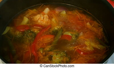 légume, stove., métal, soupe, minestrone, casserole, cuisinier, ou