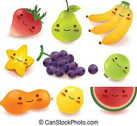 légume, vect, fruit, collection