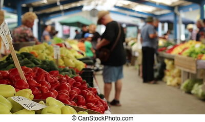 légumes, achat, gens