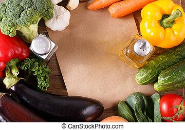 légumes, bois, recipe., fond, espace