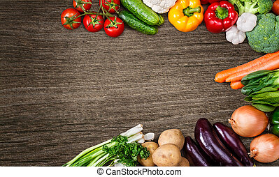 légumes, bois, text., fond, espace