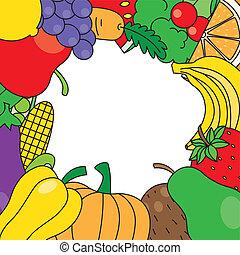 légumes, cadre, fruits