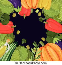 légumes, cadre, sain