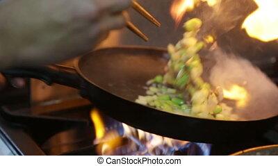 légumes, chef cuistot, frit, cuisine, riz, moule