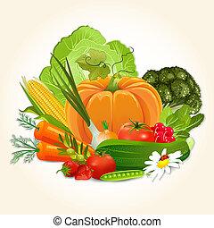 légumes, conception, juteux, ton