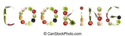 légumes, cuisine, mot, fait