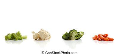 légumes, fond blanc, assorti