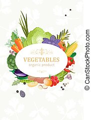 légumes frais, conception, ton, carte