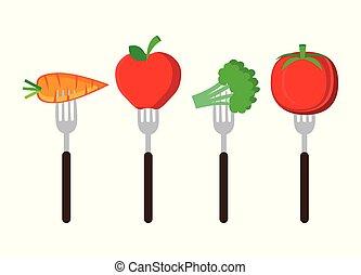 légumes frais, ensemble, coutellerie
