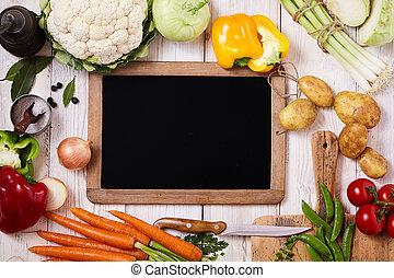 légumes frais, entouré, tableau, vide