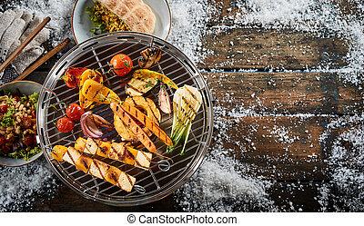 légumes frais, grillade, ferme, barbecue, assorti