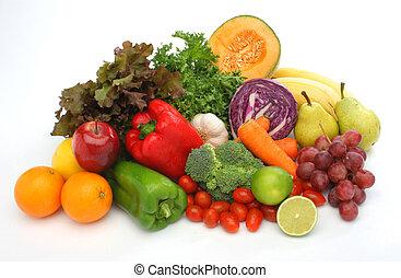 légumes frais, groupe, coloré, fruits