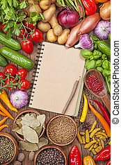 légumes frais, livre, recette, vide