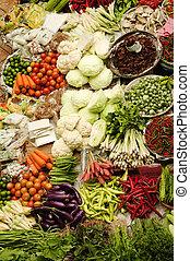 légumes frais, marché asiatique
