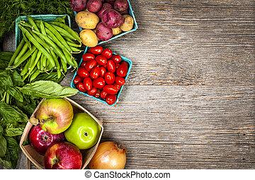 légumes frais, marché, fruits