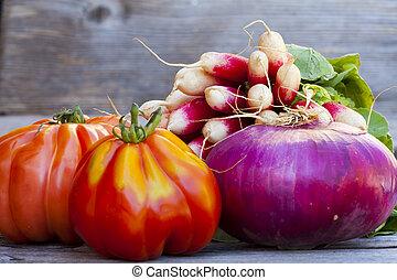 légumes frais, marché, hebdomadaire