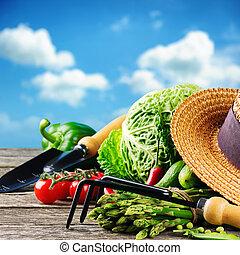 légumes frais, organique, outils jardin