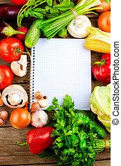 légumes frais, régime, arrière-plan., ouvert, cahier