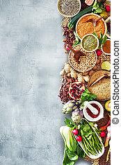 légumes, frontière, fruit, nourriture, assorti