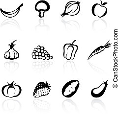 légumes, fruit, silhouettes