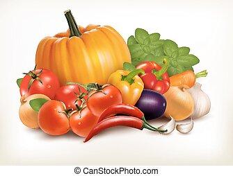 légumes, isolé, arrière-plan., vecteur, frais, blanc