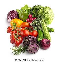légumes, isolé, collection, fond, frais, blanc