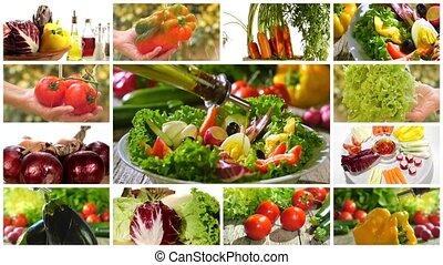 légumes mélangés, divers, salade