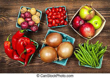 légumes, marché, fruits