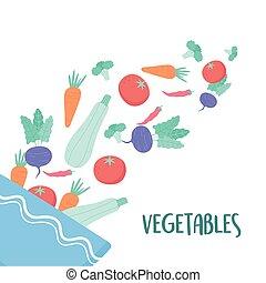 légumes, nourriture, tomber, bol, sain, salade