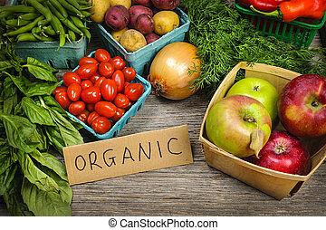 légumes, organique, marché, fruits