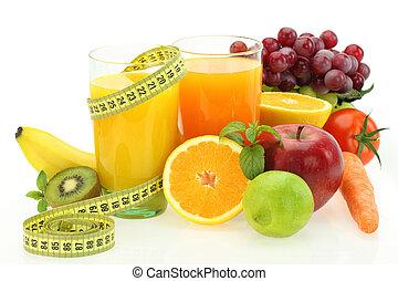 légumes, régime, jus, fruits, frais, nutrition.