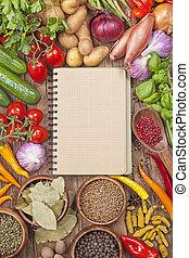 légumes, recette, livre, vide, frais, assortiment
