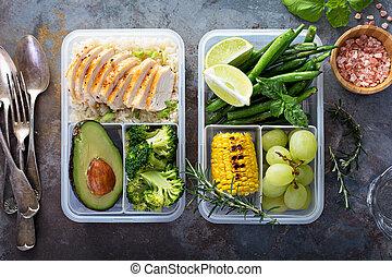 légumes, riz, préparation, repas sain, vert, récipients