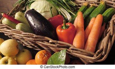 légumes, table, bois, fruits, assortiment, frais
