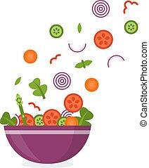 légumes, voler, bol
