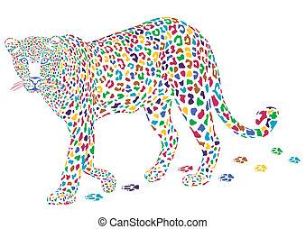 léopard, coloré, plus
