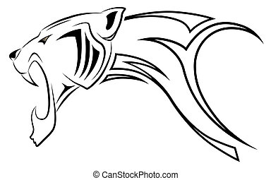 léopard, vecteur, tribal, tatouage