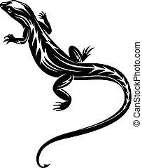 lézard, noir, reptile