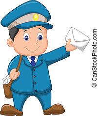 l, sac, porteur, courrier, dessin animé