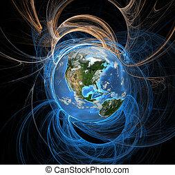 la terre, énergie, champs, ouest