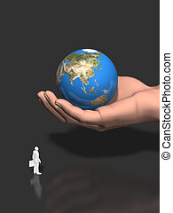 la terre, 3d, tenue, illustration, main