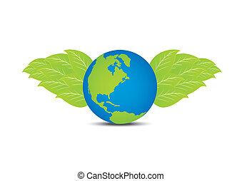 la terre, aile, pousse feuilles