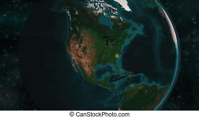 la terre, amérique, nord, zoom