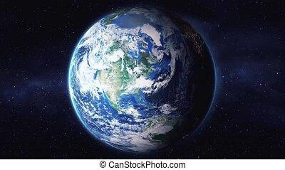 la terre, animation, décollage, dos, espace