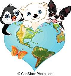 la terre, animaux, coeur